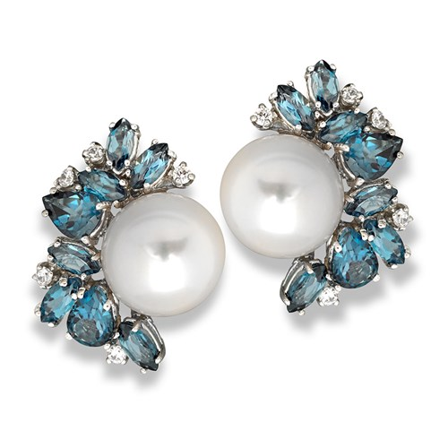 London Blue Topaz, Diamond & Pearl Spray Earrings
