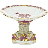 Herend Chinese Bouquet Raspberry Shell Dish with Dolphin Stand