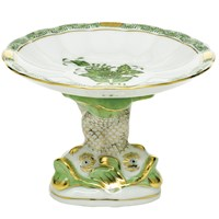 Herend Chinese Bouquet Green Shell Dish with Dolphin Stand