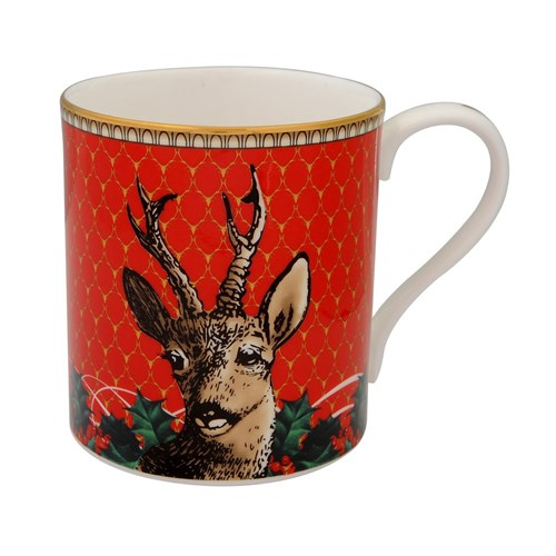 Halcyon Days Antler Trellis Red & Stag Mugs