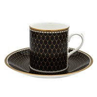 Halcyon Days Antler Trellis Black Coffee Cup & Saucer
