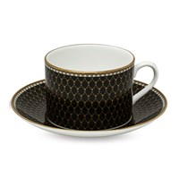 Halcyon Days Antler Trellis Black Teacup & Saucer
