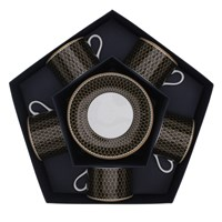 Halcyon Days Antler Trellis Black Teacup & Saucer, Set of 5