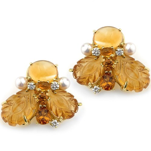 18K Gold Citrine & Diamond Bee Earrings, Clips