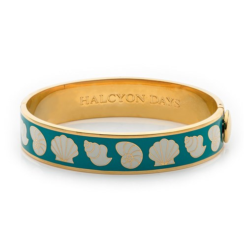Halcyon Days Shells Hinged Bangles, Turquoise & Cream
