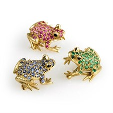 18k Gold Gemstone Frog Pin