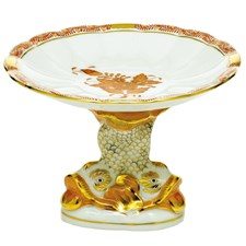 Herend Chinese Bouquet Shell Dish with Dolphin Stand