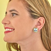 18k Blue Topaz Cushion with Peridot & Diamond Earrings
