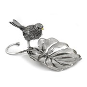 Sterling Silver Bird with Leaf