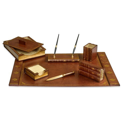Leather Books Desk Set, Brown