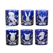 Forest Folly Ink Blue Double Old Fashioned Glasses, Set of 6