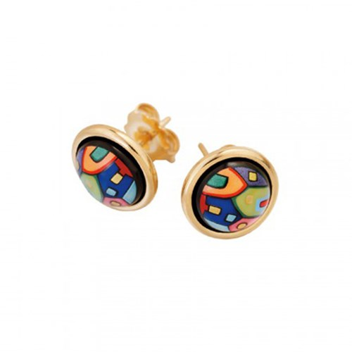 Freywille Hundertwasser 24k Goldplated Street Rivers Cabochon Earrings