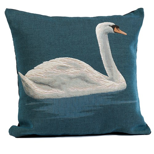 Swan on Lake Tapestry Pillow, Facing Right