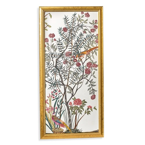 Traditional Chinoiserie Watercolor Painting Silk Panel, III
