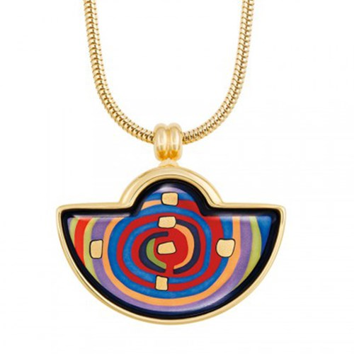 Freywille Hundertwasser Spiral of Life Half Moon Pendant, Small