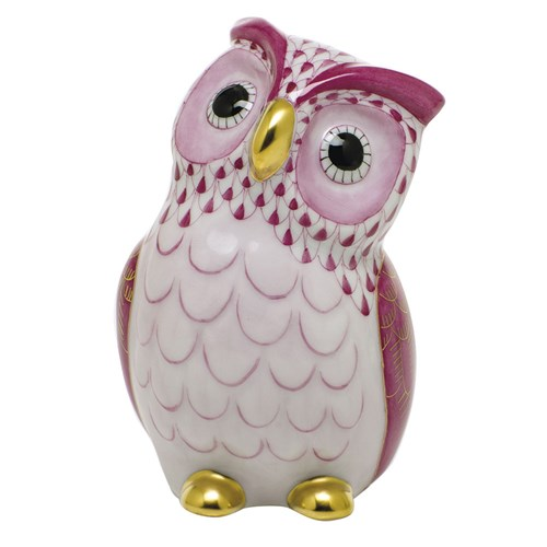 Herend Owl, Raspberry