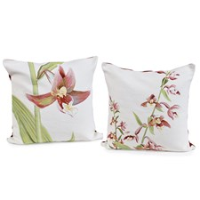 Orchid Tapestry Pillows, White