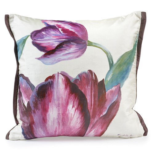 Handpainted Purple Flowers Silk Pillow, Left