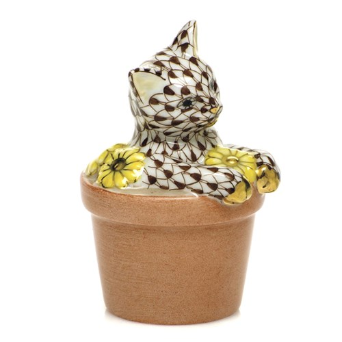Herend Flower Pot Kitty Chocolate