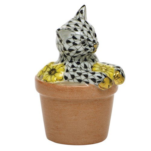 Herend Flower Pot Kitty Black