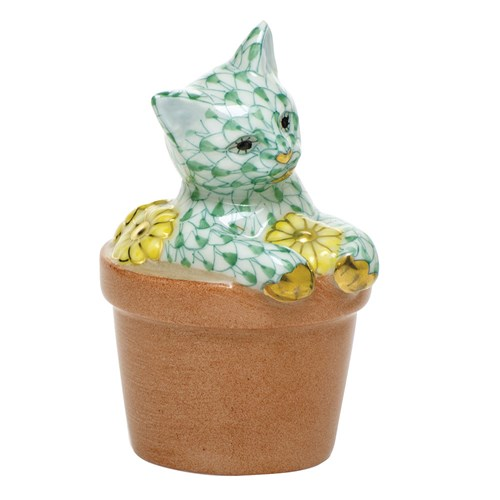 Herend Flower Pot Kitty Green