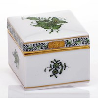 Herend Chinese Bouquet Green Square Box