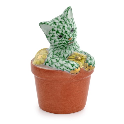 Herend Flower Pot Kitty Forest Green