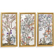 Traditional Chinoiserie Watercolor Painting Silk Panels