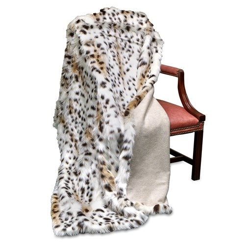 Faux Fur Bobcat Australian Geelong Wool Throw