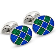 Sterling Silver Checked Cufflinks