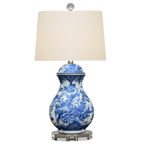 Blue & White Oval Jar Lamp