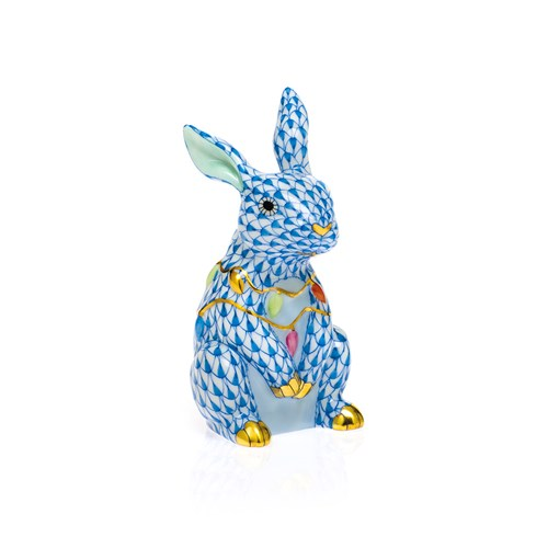 Herend Bunny with Christmas Lights, Blue