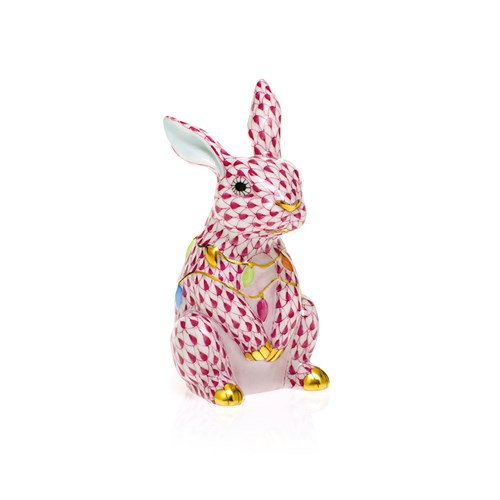 Herend Bunny with Christmas Lights, Raspberry