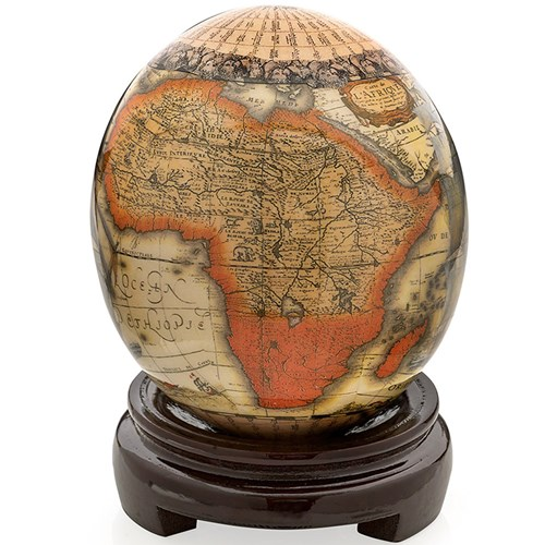 Decoupage Ostrich Egg with Map of Africa
