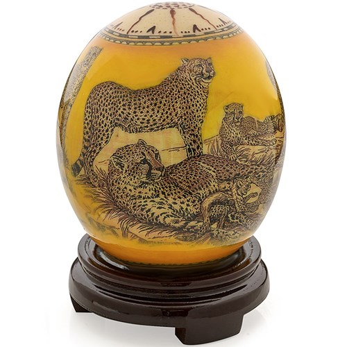 Decoupage Ostrich Egg with Cheetahs