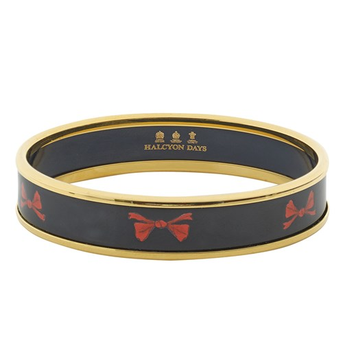 Halcyon Days Red Bow on Navy Bangle, Small
