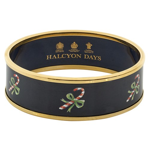 Halcyon Days Candy Cane on Navy Bangle, Small