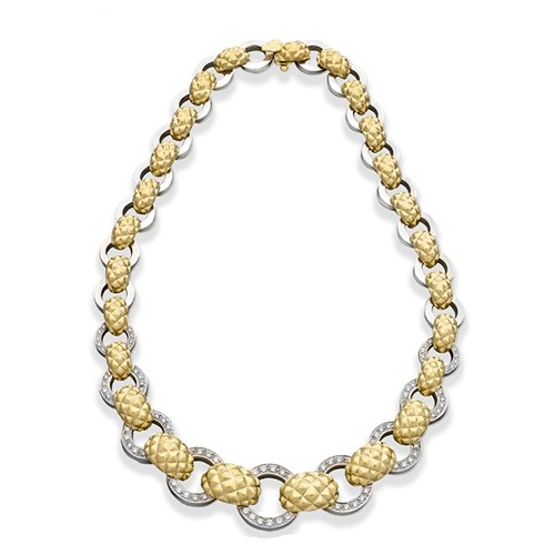 18k Satin White and Yellow Gold Diamond Necklace