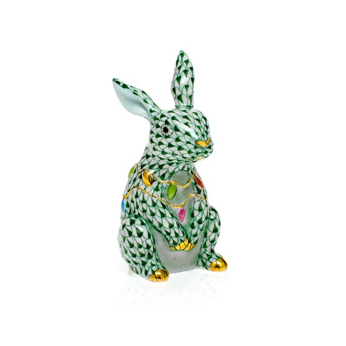 Herend Bunny with Christmas Lights, Forest Green