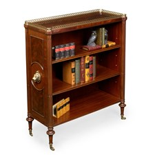 Mahogany Bookcase with Brass Lion Accents