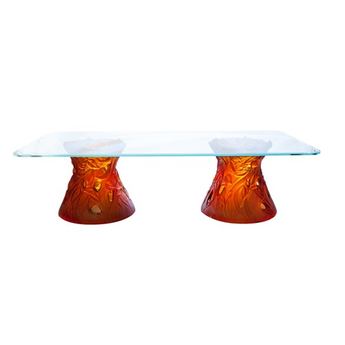 Daum Crystal Large Amber Coffee Table