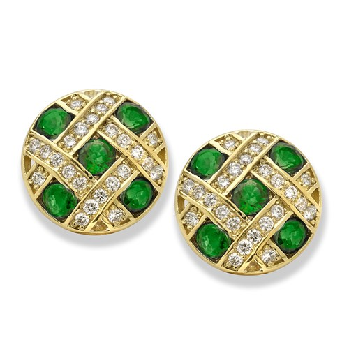 18K YG Round DIA CD Checkered Earrings Clips