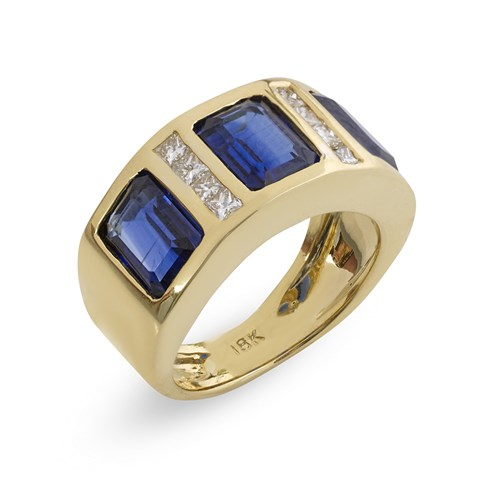 18k Triple Kyanite Princess Cut Diamond Ring