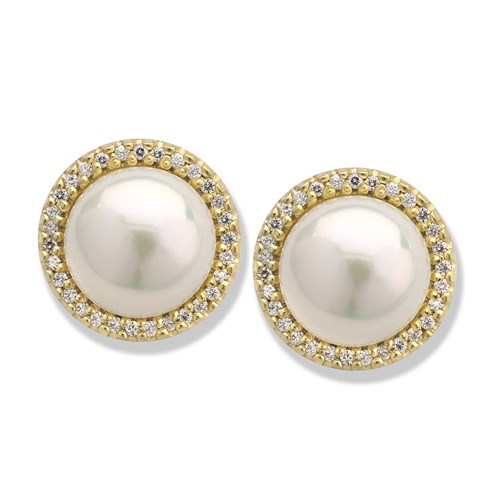 18K Yellow Gold Pearl and Diamond Earrings, Clips