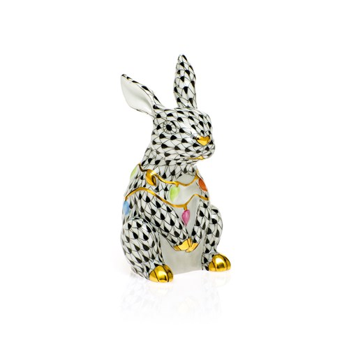 Herend Bunny with Christmas Lights, Black
