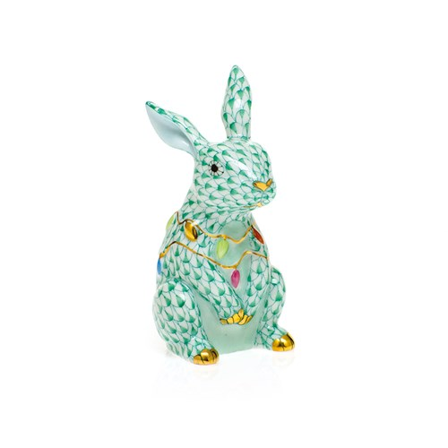 Herend Bunny with Christmas Lights, Green