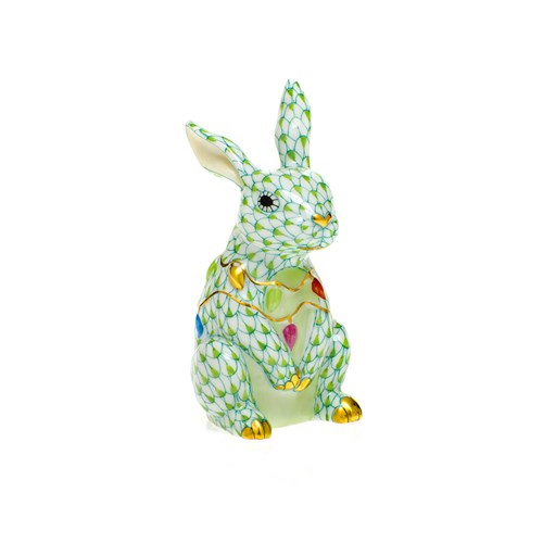 Herend Bunny with Christmas Lights, Key Lime