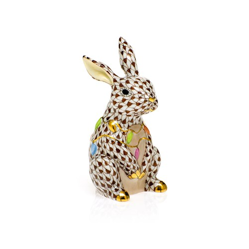 Herend Bunny with Christmas Lights, Chocolate