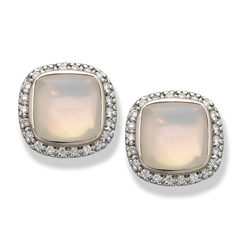 18K White Gold and Moon Quartz Bezel Earrings, Clips