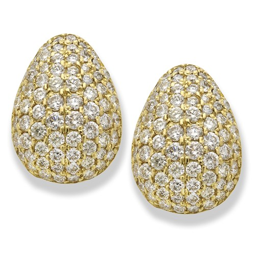 18K Yellow Gold Pave Diamond Earrings, Clips